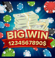 big win banner background for online casino vector image vector image