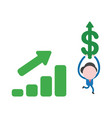 businessman character running and holding up vector image vector image