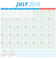 Calendar 2016 flat design template July Week vector image vector image