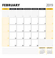 calendar planner for february 2019 stationery vector image vector image