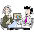 cartoon of a older man looking at finance vector image vector image