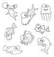 Cartoon sea animals vector image vector image