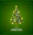 christmas card with green frame and tree vector image vector image