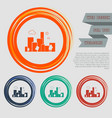 city icon on red blue green orange buttons vector image vector image