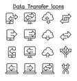 computer data transfer icon set in thin line style vector image vector image