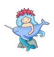 cute mermaid with long blue hair and wreath of red vector image vector image