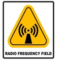 Danger banner radio frequency field in yellow vector image vector image