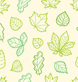 Different summer leaves seamless pattern vector image vector image