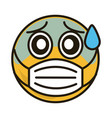 emoticon fearful with medical mask coronavirus vector image vector image