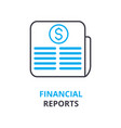financial reports concept outline icon linear vector image vector image
