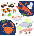 flat natural sea food template vector image vector image