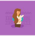 flat woman mom shopping grocery store vector image