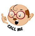 funny human emoji with call me sign on white vector image vector image
