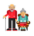 happy pensioners couple elderly man with stick vector image vector image