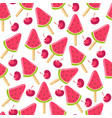 ice cream with watermelon and cherry taste vector image vector image