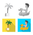 isolated object of pool and swimming logo vector image vector image
