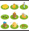 isometric honey isolated icons set with bees vector image