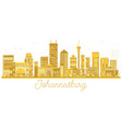 johannesburg south africa city skyline golden vector image vector image