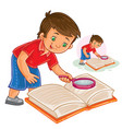 little boy reading a book with a magnifying vector image vector image