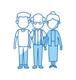 lovely grandparents with young man family and vector image