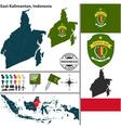 Map of East Kalimantan vector image vector image