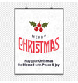 merry christmas greetings design with white vector image vector image