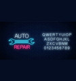 neon auto repair shop sign with alphabet glowing vector image