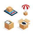 parcel delivery stages set vector image vector image