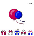 party balloon and gift box icon vector image