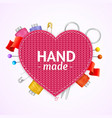 realistic 3d hand made knitted concept vector image vector image