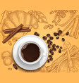 realistic coffee cup on handdrawn vector image vector image