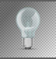 realistic lit light bulb vector image