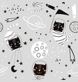 Seamless childish pattern with cat astonauts in