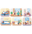 set about home treatment people vector image vector image