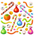 set colorful halloween sweets for children vector image