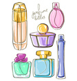 Set of isolated perfume bottles vector image vector image