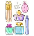 Set of isolated perfume bottles vector image