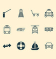 shipping icons set with tram taxi train and vector image vector image