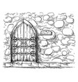 sketch hand drawn old double arched wooden door in vector image