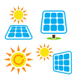 Solar panel - eco eergy icons set vector image vector image