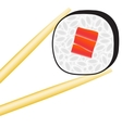 Sushi roll logo with stick vector image vector image