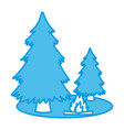 trees pines and bonfire vector image vector image