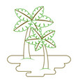 two palm trees on sand tropical plant vector image