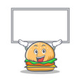 up burger character fast food with board vector image vector image