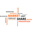 word cloud market share vector image vector image