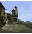 Entrance to the medieval castle fantasy vector image