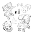 hand drawn set for twins Graphic sketch vector image