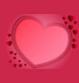 paper art style of frame heart shape on pink vector image