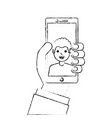 hand holding phone with man on screen talking vector image
