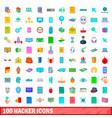 100 hacker icons set cartoon style vector image vector image